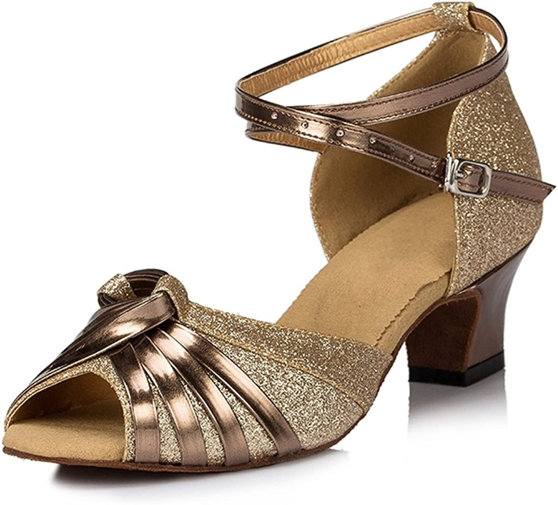 Misu Women's Peep Toe Sandals Latin Salsa Tango Practice Ballroom Dance shoes with 1.8  Heel