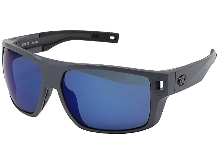 Costa  Diego (Matte Gray Frame/Blue Mirror Lens 580P) Fashion Sunglasses