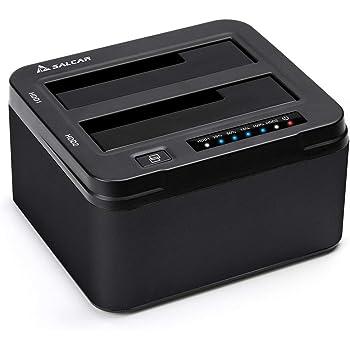 SALCAR USB 3.0 Non in Linea Clone Docking Station 2-bay ottimizzato per Hard Disk HDD/SSD da 2,5 e 3,5 Pollici (SATA I/II/III), compreso Il Cavo USB 3.0 e 12V PSU 3A, 2 x 8 TB Aluminum (Nero)