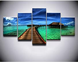 ZTTPCP 150×80cm Poster 5 Pieces Canvas Print Ocean Sky Tropical Modular Pictures Canvas Wall Art Home Decorative Painting Bedroom