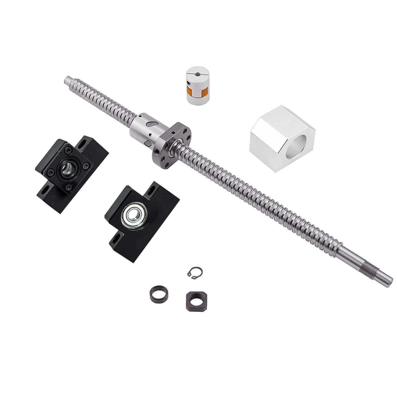 1 anti backlash 20mm ballscrew RM2005-600mm-C7+BK//BF15 end support bearing CNC
