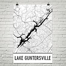 Modern Map Art Lake Guntersville Alabama, Lake Guntersville AL, Alabama Map, Alabama Decor, Lake Map, Guntersville Lake Art, Art, Cottage Poster 24