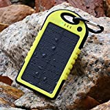 ZTCOO Solar Panel Charger 12000mAh Rain-resistant Dirt/Shockproof Dual USB Port Portable Charger Backup Power Pack for iPhone 6 plus 5S 5C 5 Samsung Galaxy S6 S5 S4 S3 Note 4 3, All USB Devices,Yellow