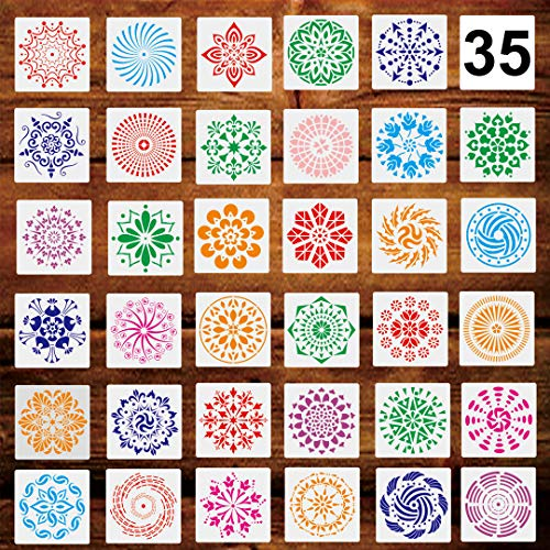 35 Pack (5.1×5.1 inch) Mandala Stencil Large Reusable Mandala Dot Painting Stencils Templates Perfect for Rock Floor Wood Wall Canvas Fabric Tile Rug Furniture etc Art Projects