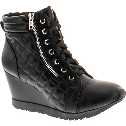7434ed3b5f2 Women Sporty Leatherette Lace-up High Top Wedge Sneaker Bootie Shoes