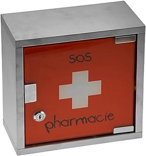 Incidence 44930 Armoire à pharmacie murale SOS pharmacie Croix blanche Rouge et gris chrome Métal et verre Fermeture magné...