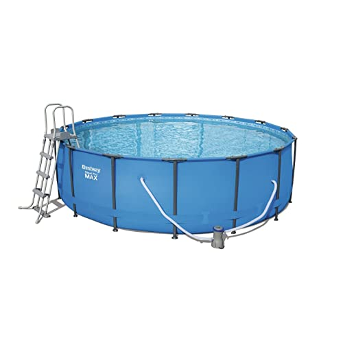 Bestway Steel Pro MAX Frame Pool Komplettset rund, mit Kartuschenfilterpumpe, Leiter, Boden- und Abdeckplane, 457x122 cm, blau