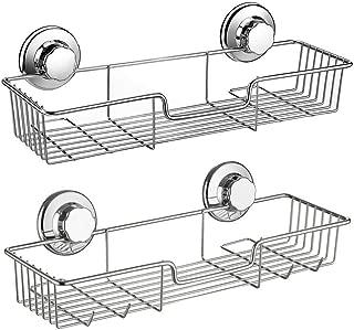 Slideep Suction Cup Shower Caddy, Bathroom Organizer Basket Shelf with Hooks, Deep Bathroom Storage Kitchen Organizer Basket Accessories, No Drilling Wall Mounted, Rustproof Stainless Steel, Set of 2