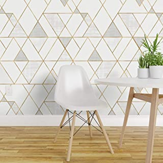 Spoonflower Peel and Stick Removable Wallpaper, Mod Triangles Geometric Print, Self-Adhesive Wallpaper 12in x 24in Test Swatch