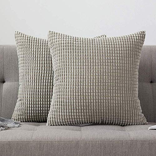IUYJVR Juego de 2 Fundas de cojín cuadradas Decorativas sólidas de Pana Suave de maíz Grande para sofá dormitorio-22 x22, 2 Piezas_Arena