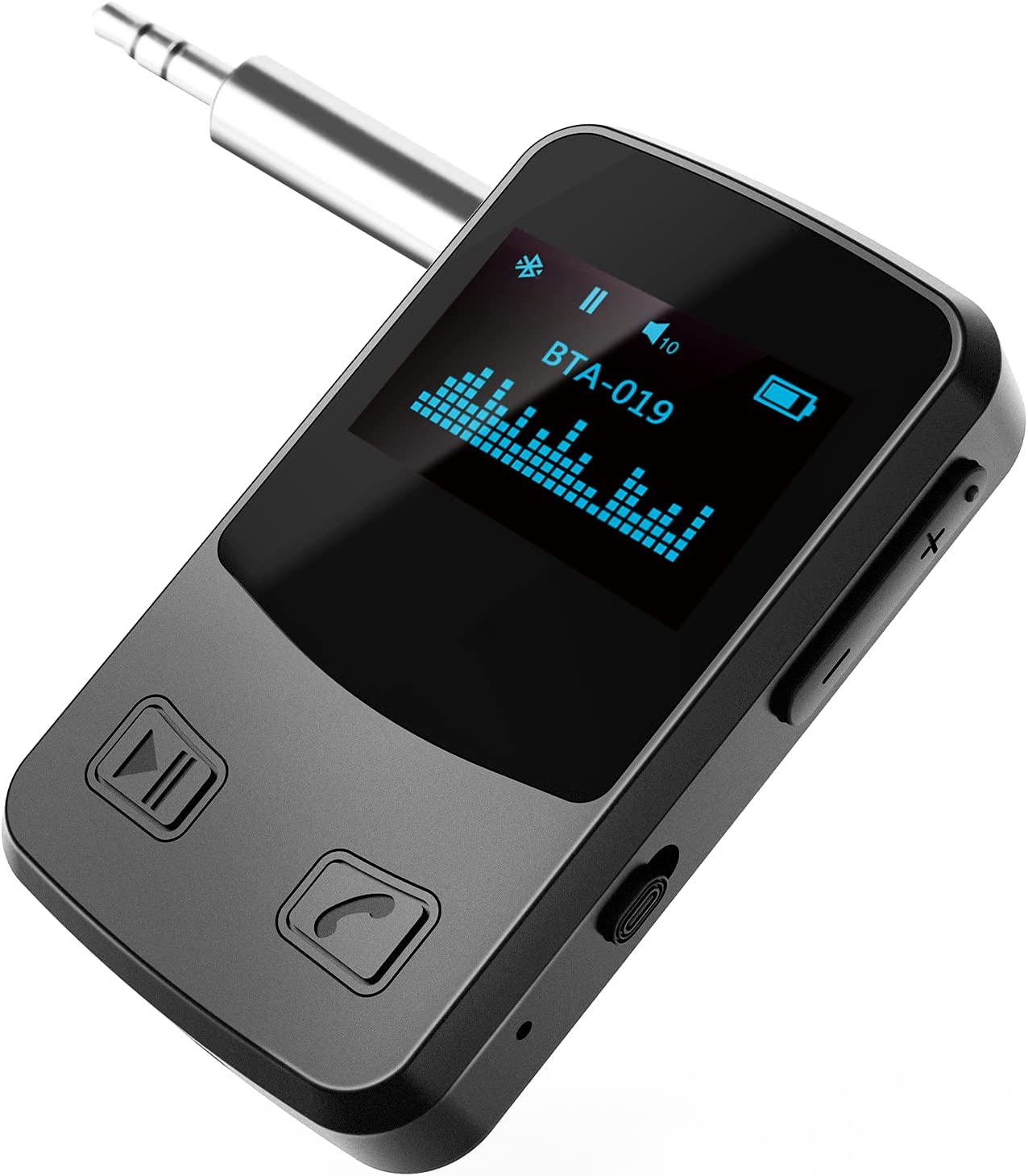 Receptor Bluetooth Pantalla OLED auxiliar Adaptador Bluetooth 5.0 Receptor inalámbrico con llamadas manos libres para automóviles Sistema de altavoces de alta fidelidad con entrada auxiliar de 3,5 mm