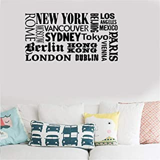 Teuiya Vinyl Saying Lettering Wall Art Inspirational Sign Wall Quote Decor New York London Paris World City Names for Office Living Room Bedroom