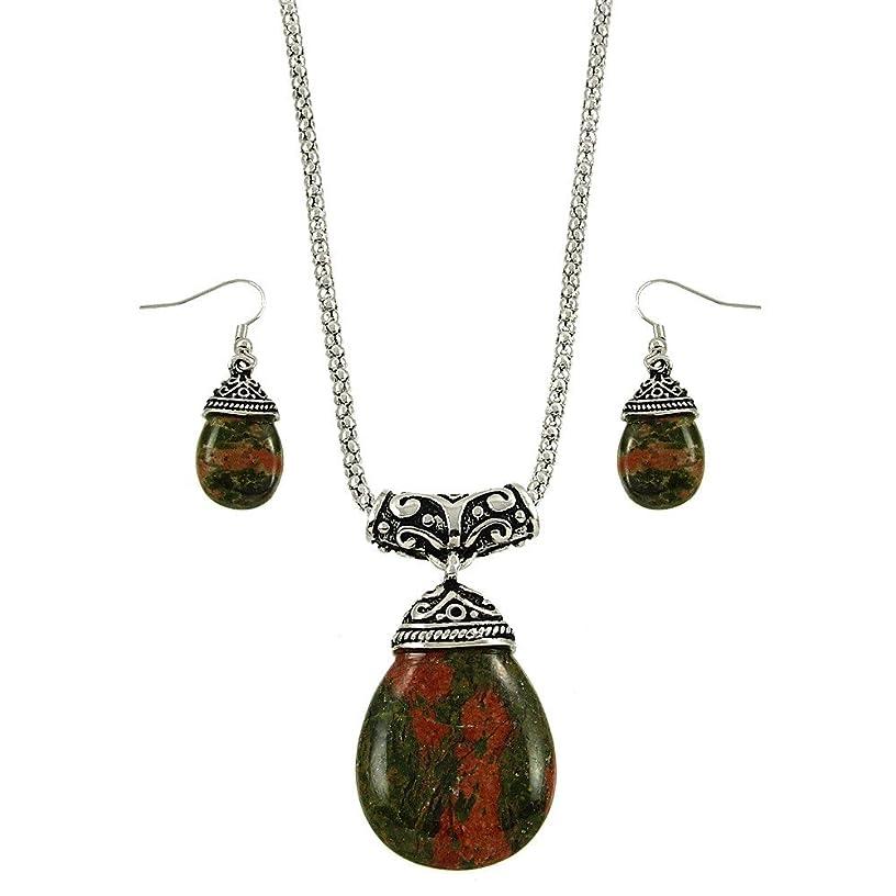 Falari Tear Drop Shaped Natural Stone Necklace Earring Set