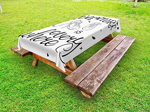 ABAKUHAUS Avontuur Tafelkleed voor Buitengebruik, Sneakers Hiking Woods, Decoratief Wasbaar Tafelkleed voor Picknicktafel, 58 x 84 cm, Zwart wit