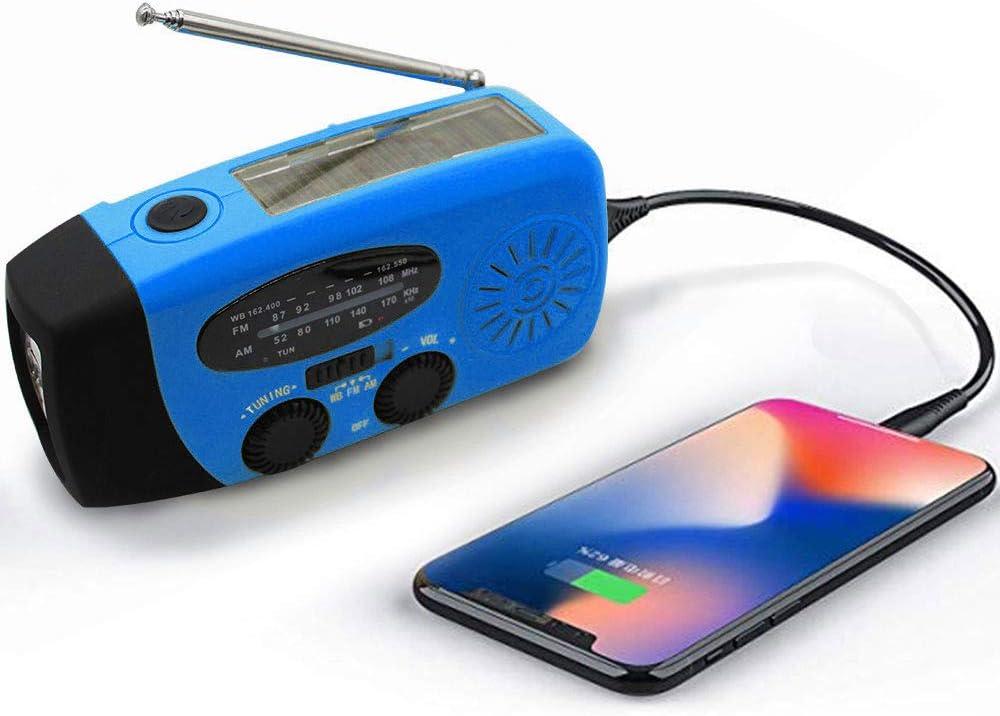 Upgraded Emergency Solar Weather Radio Hurricane Supplies Earthquake Kit Hand Crank Self Powered AM//FM//WB NOAA Wind up Survival Radios LED Flashlight 1000mAh Power Bank for iPhone Smart Phone (Blue)