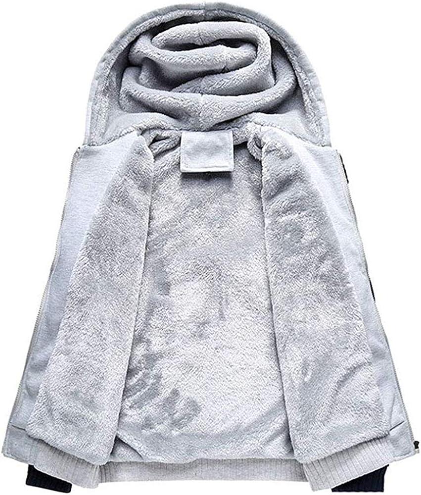 Uni-Wert Mens Pullover Winter Workout Fleece Hoodie Jackets Full Zip Wool Warm Thick Coats