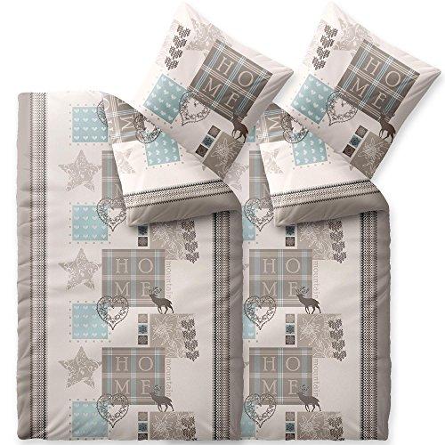 CelinaTex Touchme Biber Bettwäsche 135 x 200 cm 4teilig Baumwolle Bettbezug Skadi Home beige braun blau