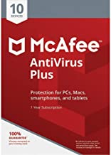 McAfee AntiVirus Plus, for PC or Mac, 10 Devices, 1 Year Subscription