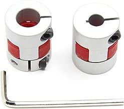 Befenybay 2PCS 6.35mm to 10mm Aluminium Plum Flexible Shaft Coupling D20 L25 6.35X10mm Connector Flexible Coupler for 3D Printer CNC Machine and Servo Stepped Motor