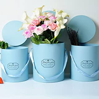 BBC Luxury Cylindrical Packaging Flower Paper Box With Lid Set/3 (S/M/L) (Blue)
