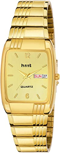 Hrnt Analogue Golden Dial Strap Day Date Watch For Men