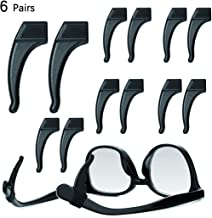 6 Pairs Anti-Slip Solicone Comfortable Ear Grip Hooks Holder,Soft Temple Tips Sleeve Retainer for Eyeglasses Sunglasses,Prevents Your Glasses from Slipping Off,Black