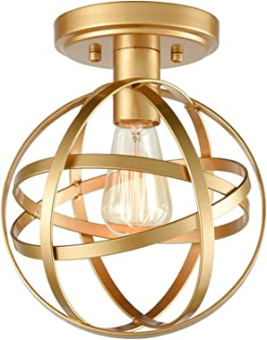 Modern Industrial Flush Mount Ceiling Light Brass Metal Spherical Ceiling Lamp Light Fixture for Hallway Stairway Porch Bedro