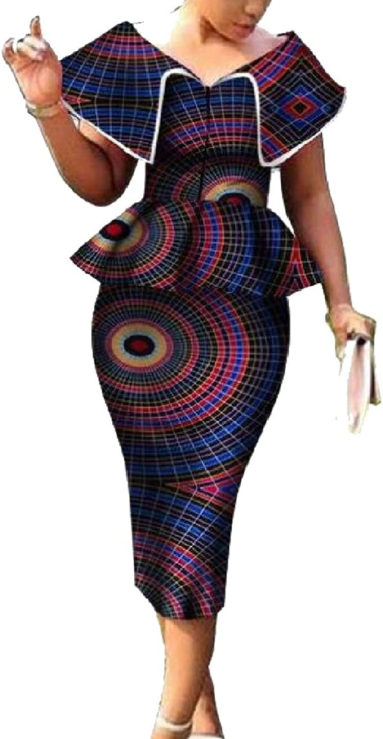 Women's Sexy Short Sleeve Two Piece Africa Print Bodycon Long Party Skirts
