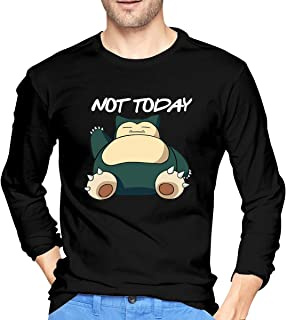 Evmjser Snorlax Not Today Men's Personality Long Sleeve Crewneck T Shirts Tee Black
