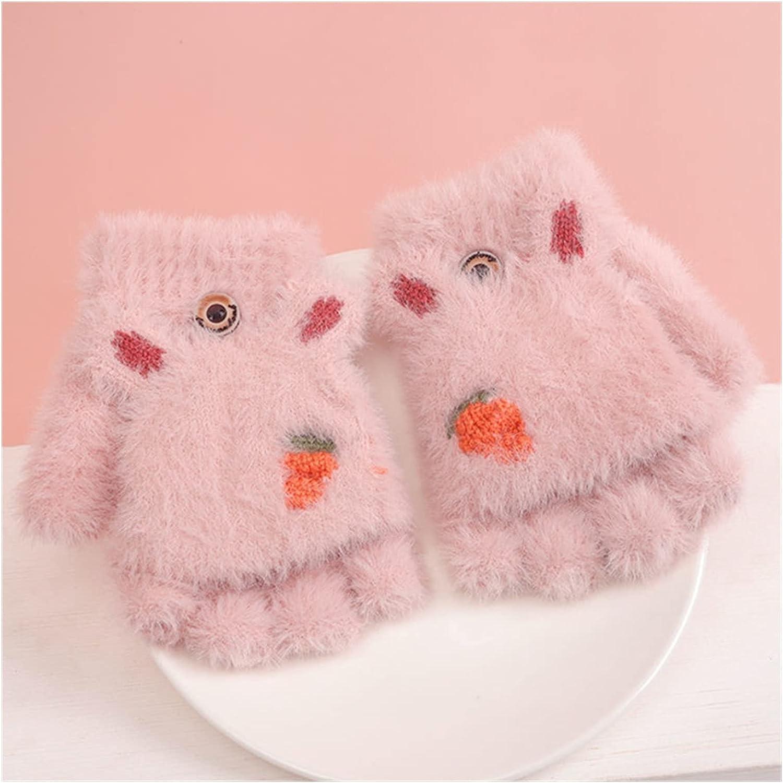 JSJJAWS Winter Gloves Knitted Fingerless Gloves for Girls Cartoon Baby Mittens Warm Children Winter Half Finger Gloves Baby Accessories (Color : Light Pink)