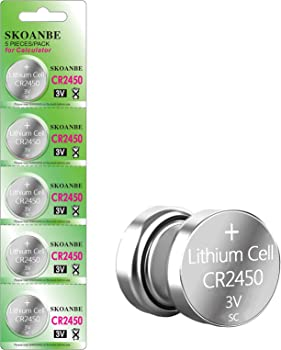 5-Pack SKOANBE CR2450 3V Lithium Battery