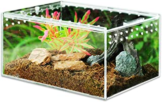 "MABELER Magnetic Acrylic Reptile Cage 4""x3.3""x2.5"" Nano Enclosure Transparent Reptile Breeding Box Terrarium Tank Tarantul..."