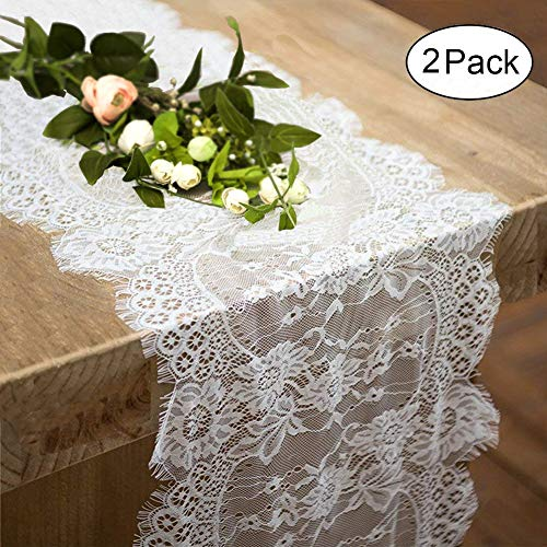 2 Pack Lace Table Runner 14 x 120 Inch White Classy for Rustic Boho Wedding Bridal Shower Party Decorations, Rose Vintage Embroidered Reception Table Runners Decor