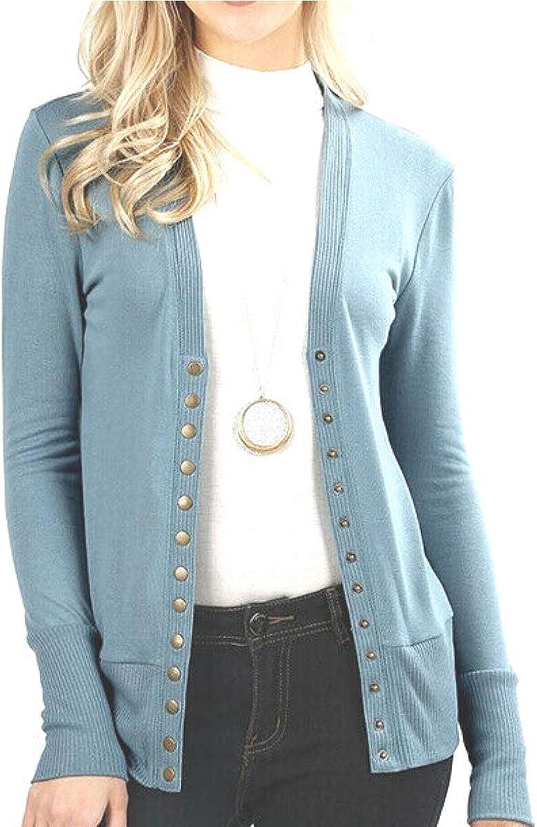 Women's Snap Button V-Neck Long Sleeve Knit Cardigan Sweater