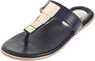 Cleo By Khadim's Synthetic PVC Sole Casual Black Decorative Sandal For Women