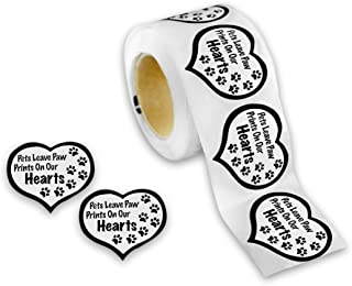 Pets Leave Paw Prints Heart Stickers (250 Stickers)