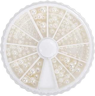 enForten 600 pcs Gorgeous 3d Round Ivory Cream White Mixed Size Nail Polish Art Pearl Wheel Set for Women Girls