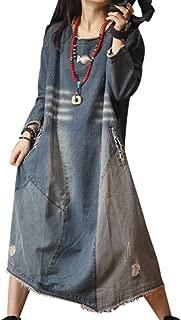 YL6 Women Long Maxi Denim Overalls Dress Swing Skirt Color Block Stitched Scratch Distressed Unique Back Design