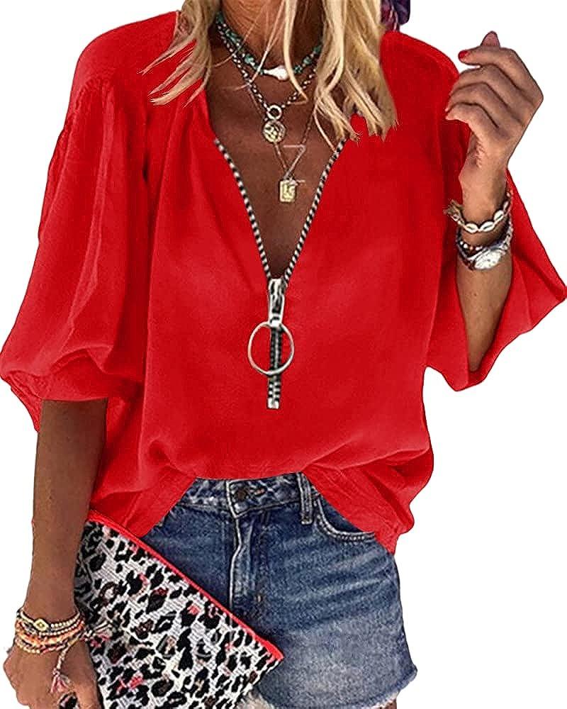 Cnkwei Womens V-Neck Lantern Sleeve Blouse Zipper Design Loose Casual Top Shirts