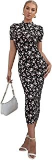 فستان مورد بحافة ضيقة للنساء بياقة وهمية
