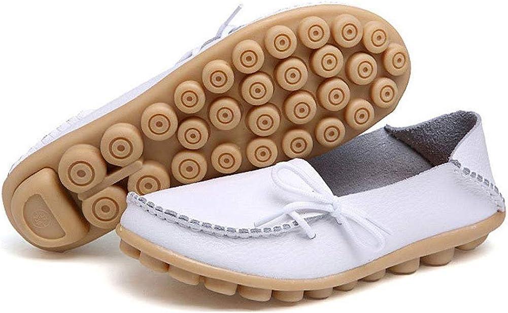 Decai Mocasines de Cuero Piel Mujer Oxford con Cordones Zapatos de Conducci/ón Planos Cl/ásica Punta Redonda Cuero Mocasines de Ballet Planos para Mujeres