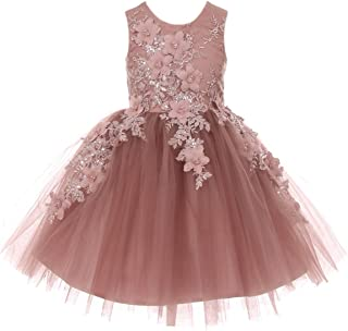 Sleeveless Satin Bodice Tulle Skirt with Raised Flowers and Beads Girl Dress