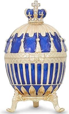 BestPysanky 1885 Blue Enamel Ribbed Royal Russian Egg