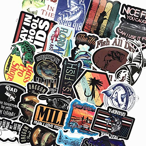 HUNJI Funny Fishing Stickers For Fishing Boat Tackle Box Tool Car Chair Waterproof Graffiti Decal 50 Pcs//Lot