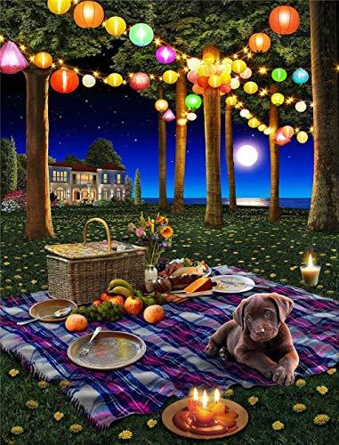 ymwenj Puzzle Erwachsene Kinder Spiel 1000 Stücke Sommer Mond Picknick 75x50cm DIY Kreatives Freizeitgeschenk Intellektuelle Entwicklung