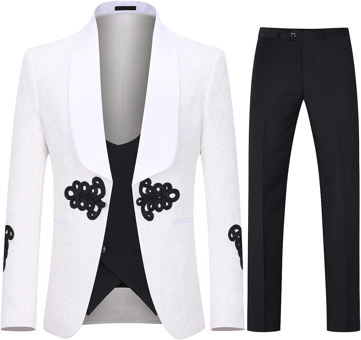 Great interest Boyland Men's Luxury Tuxedo Suit Slim Shawl G 3 Great interest Pieces Lapel Fit