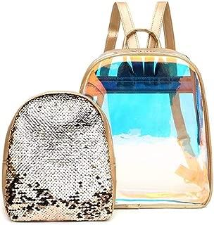 2pcs/setWomen Clear Black Backpack Transparent Fashion Lady Sequins Bookbags Shoulder Bags Cute Back Pack Leisure Bagpack