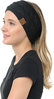 BYSUMMER C.C Cable Knit Ear Warmer Muff Headband For Women and Men For Fall and Winter Cold Weather (Black)