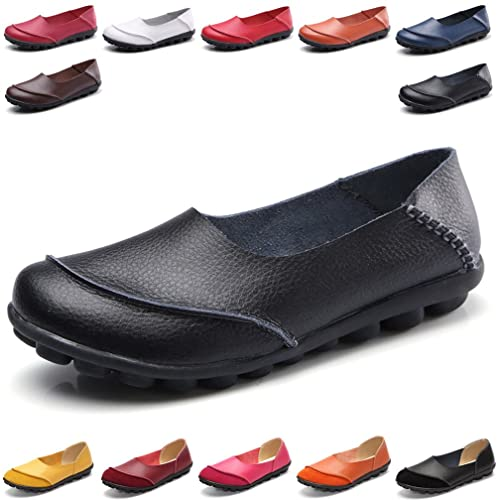 1387c8c8fa452 Hishoes Women s Soft Leather Mocassins Casual Slip On Loafers Flat Boat  Shoes Driving Shoes