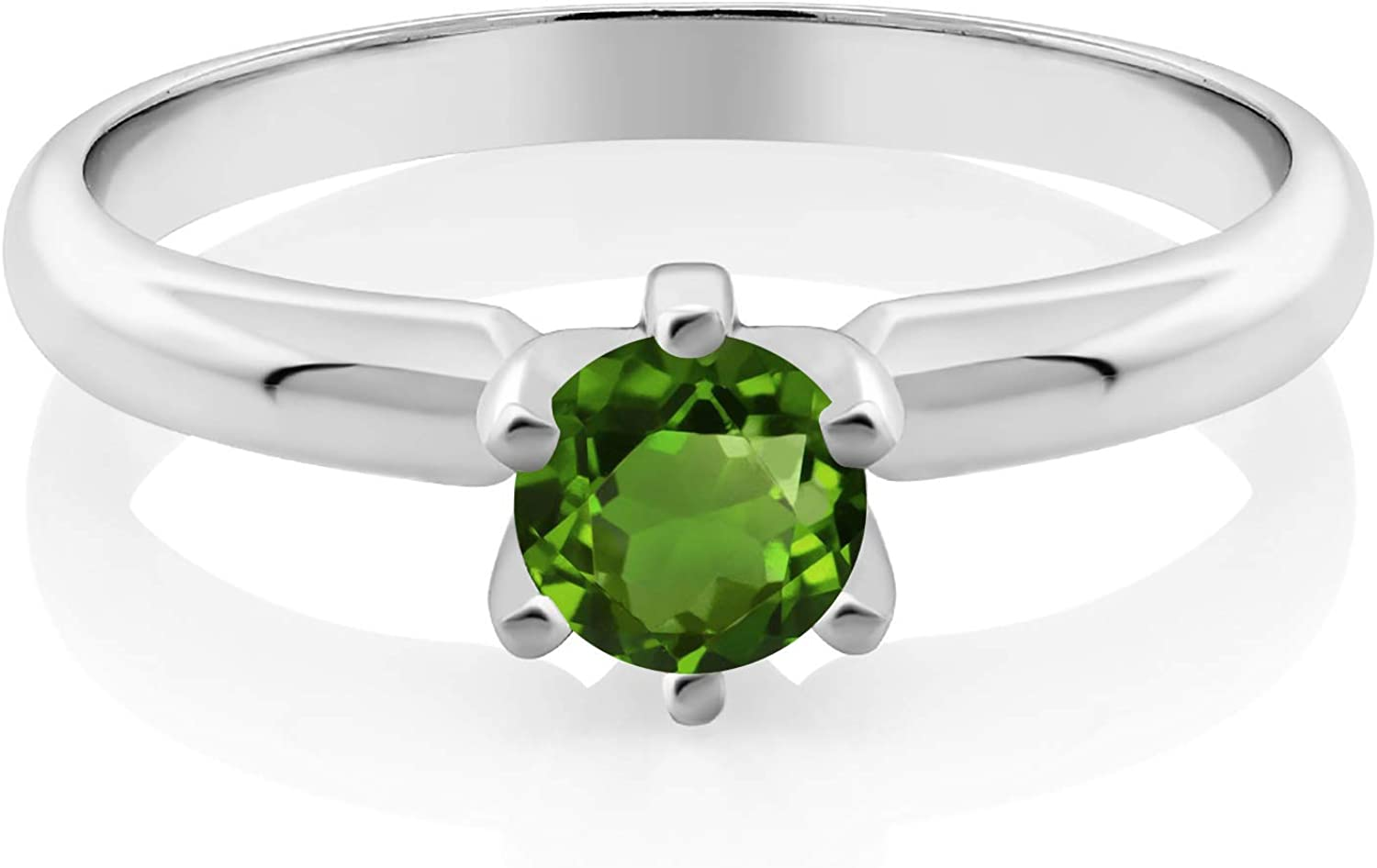 NEW before selling ☆ Gem Stone King Max 82% OFF 0.50 Ct 5mm Chrome 925 Green Diopside Sterl Round